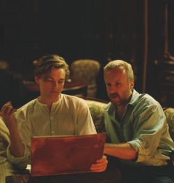 Director James Cameron with Leonardo DiCaprio behind the scenes of Titanic