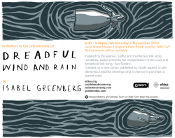 Remember, remember, the 5th of November… yes, well, I do, because I'm going to this! Come along to the private view of isabelgreenberg's new exhibition, in honour of a new comic, Dreadful Wind and Rain.