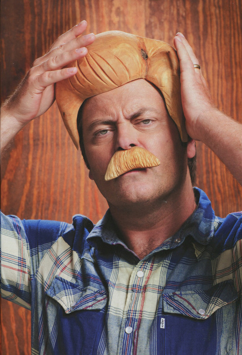 Nick Offerman wearing a wooden moustache and wig that he made himself. #win