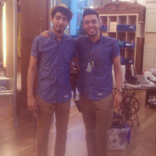 Found my outfit twin at work today! Wearing the same outfit!! His name is Juan and he obviously has a great fashion sense ;)  #accidentaltwins #uo #uocitycentre #houston #urbanoutfitters #fashion #style #twins #winning #yes