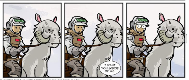 Tauntaun and Luke Skywalker. From Blue Milk Special