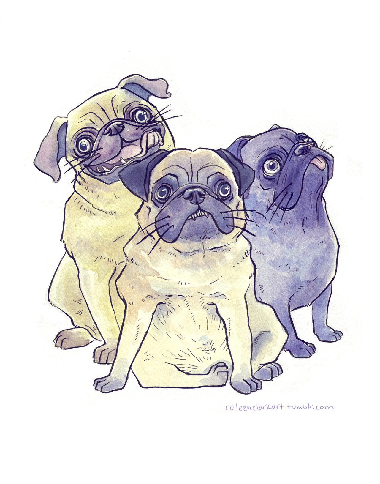 Pug Thuggin'. Started this last semester in watercolor class and finally finished it up today!