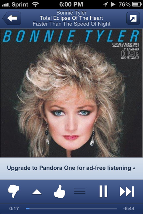 Bonnie Tyler doesn't give two shits about your ozone.