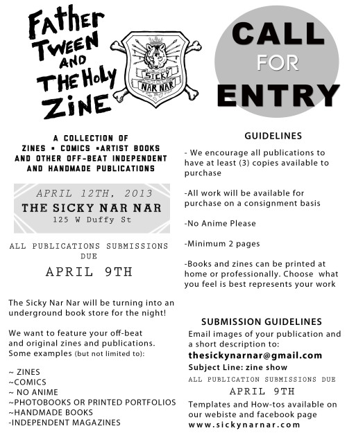 US zinesters - submit your zines to this show in Savannah, GA. Like them on Facebook for updates.