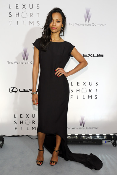 elizabethswardrobe:  Zoe Saldana in Lanvin, Gucci heels and David Yurman jewels at the Lexus Short Film 'Life is Amazing' Presentation.
