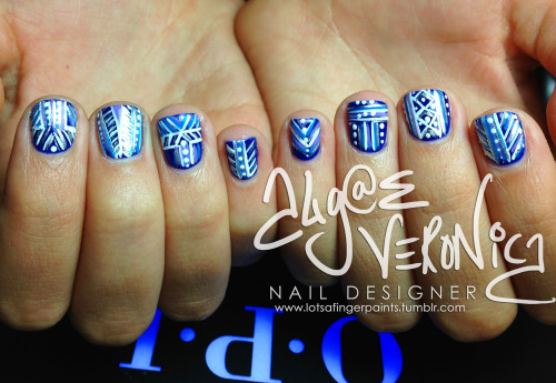 "Tribal in blue over ""OPI…Eurso Euro!"" in OPI GelColor"
