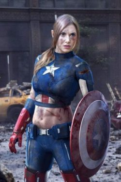 onceknownfriend:  Alison Brie  my God. Allison Brie + Captain America. Yowza!