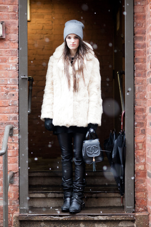 "theinsidesource:  FW Style: Kerrin Smith Kerrin is braving the snow this New York Fashion week in her vintage fur coat and vintage leather leggings with boots by Strategia. Vintage is her game the style blogger explains. ""I actually sell on ebay. I've sold anything from Isabel Marant shoes to a vintage bike"" she tells The Inside Source. ""The best thing I've ever found on Ebay is a $4 link pink pom pom from Korean that I put on my Alexander Wang bag"". Oh, and just in case you think she's all vintage, note the adorable new Chanel bag she wears with pride.  (Photo: Melodie of TheNYCStreets.com. Text by Jauretsi)"
