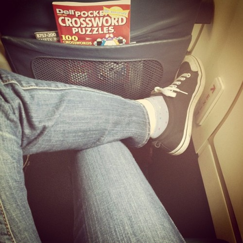 Extreme leg room in the exit row yo. It's totally worth the potential responsibility of popping this door open in the event that we all go down in a horrible twist of fate. But let's not dwell on that. ✈💥🙋 #delta #exitrow #totallyworthit #firstonestoboardfirstonestojump (at Gate 6)