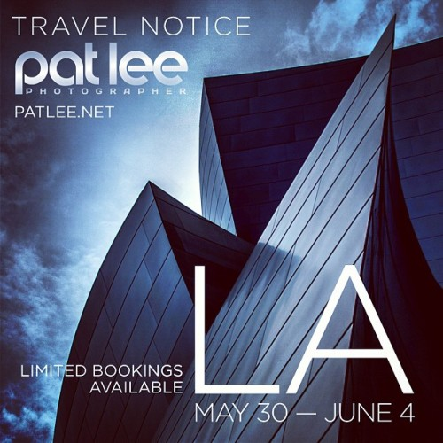 Final Travel Notice: I'll be in LA from May 30th — June 4th and available for photography sessions. Please inquire for rates and availability. Bookings close this Friday. http://patlee.net/