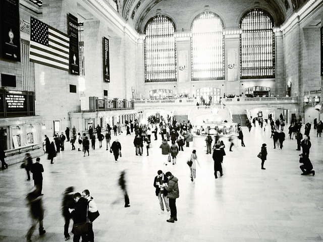 "Grand Central on Flickr. Via Flickr: ""There are roughly three New Yorks. There is, first, the New York of the man or woman who was born there, who takes the city for granted and accepts its size, its turbulence as natural and inevitable. Second, there is the New York of the commuter — the city that is devoured by locusts each day and spat out each night. Third, there is New York of the person who was born somewhere else and came to New York in quest of something ….Commuters give the city its tidal restlessness, natives give it solidity and continuity, but the settlers give it passion.""E.B. White, Here is New York, 1948."