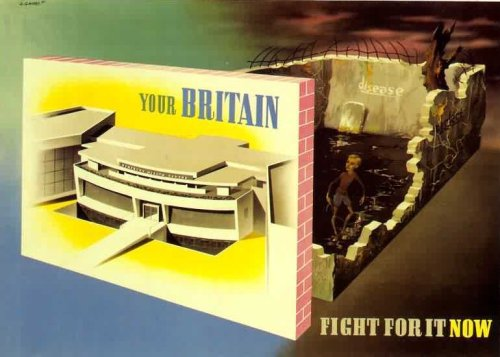 "World War II poster by Abram Games, of Finsbury Health Centre (via iamdanw) 100 Objects from the Century of the Child:  In this poster, the radiant entrance to the Finsbury Health Centre stands in front of a dark and blasted wartime landscape, where a sickly child plays in a puddle of muddy water amid total devastation. The center, radical in terms of its modernist architecture and medical philosophy, had delivered free medical care since 1935 in Finsbury, a working-class borough blighted by tuberculosis and slum housing.  Design Museum: Berthold Lubetkin:  Tecton was appointed to design a new Health Centre next to Sadler's Wells theatre in the Clerkenwell area of London. It was the first time that a progressive architectural group had been awarded a municipal commission in Britain and offered an important opportunity for Lubetkin to publicly use architecture as a catalyst for progress to change people's behaviour. He was determined that the design of the Health Centre would encourage the public to become healthier, from the ""sunny and airy effect"" of its glass brick façade, to the cheerful murals painted on the walls by Gordon Cullen which adjured visitors to ""live out of doors as much as you can"" and to benefit from ""fresh air night and day"".  The centre is now Grade 1 listed and still in use."