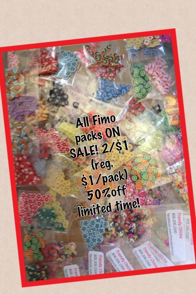 All Fimo packs ON SALE! 2/$1 (reg. $1/pack) 50%off limited time!