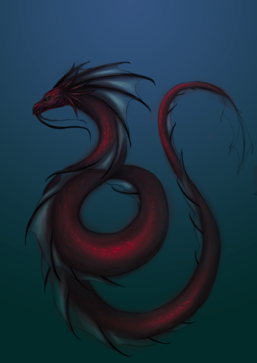 spectre-draws:  WIP. I've been reading the last of the LiveShip Traders trilogy and now I can't help but love sea serpents.