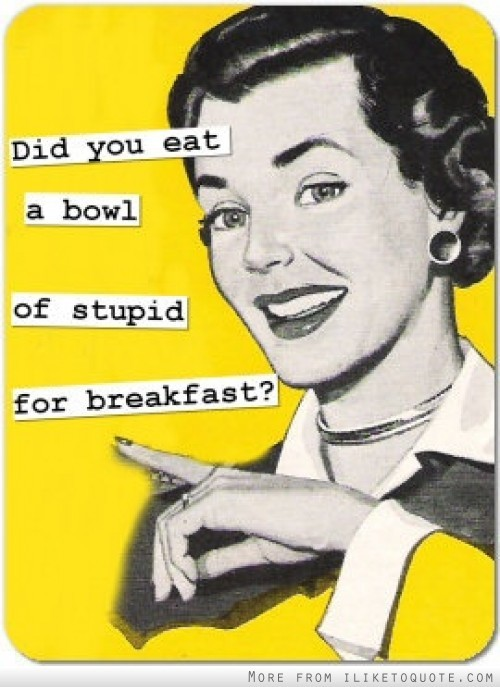 bitterxoxsweet:  Did you eat a bowl of stupid for breakfast ?