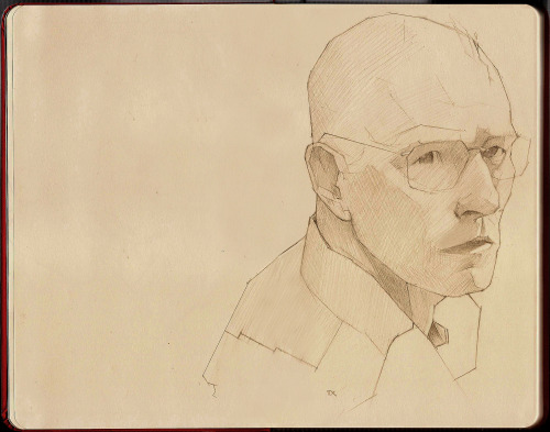 fuckyeahmoleskines:  Walter White, graphite in B5 moleskine (removed page crease). Check out my blog for an upcoming illustration of this piece!