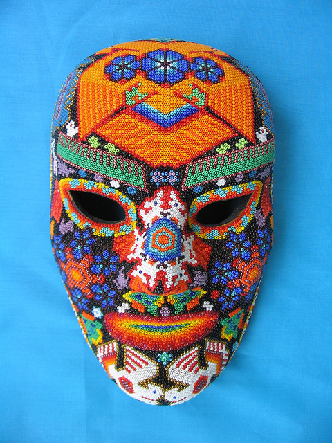 Beaded mask by a Huichol artist of Mexico City