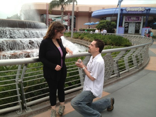 So, my brother proposed yesterday at the fountain at Epcot to his awesome gf, Trista. (And yep, she said yes. Yay!)