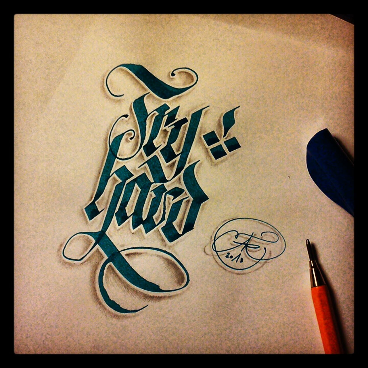 calligraphi.ca - Try Hard - prallel pen and pencil - theosone