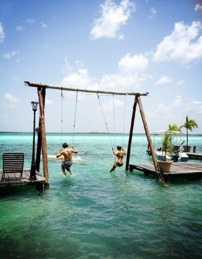 Swing at Bacalar Lagoon - Mexico