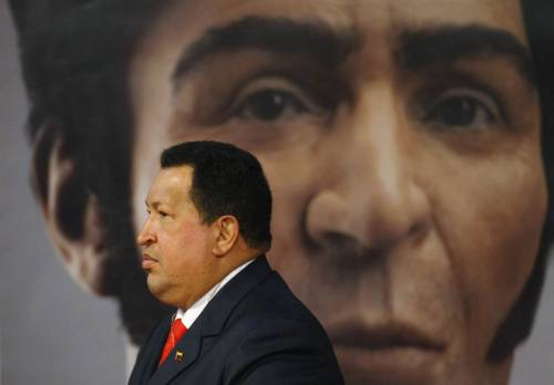JUST IN: Venezuela's Hugo Chavez dies BBC: Venezuela's President Hugo Chavez has died, his vice president has announced. Chavez had not appeared in public since he returned to Venezuela last month after cancer treatment in Cuba. Follow more updates on BreakingNews.com. Photo: Hugo Chavez walks past an image of independence hero Simon Bolivar during a ceremony to mark his birthday in Caracas on July 24, 2012. (Carlos Garcia Rawlins / Reuters)