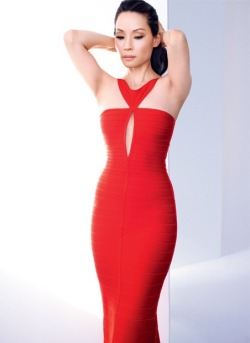 "Lucy Liu for The Edit May 2013 in red Hervé Léger cut out bandage gown (via Lucy Liu in Net-A-Porter's The Edit: Not ""just the Asian girl"")"