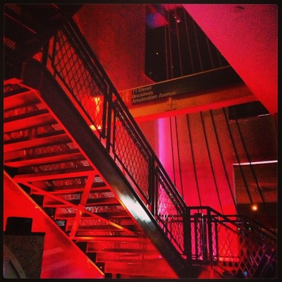 Stairs Inside the Club #bowlmor #timessquare #nyc #ny #nye #newyears #newyork #newyorkcity #love #club #clubbing #red #lowlight #iphoneonly #4s  (at Times Square)