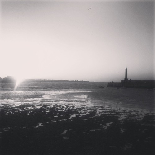 Setting Sun #Sunset #Monochrome #Coastline #England #Lighthouse