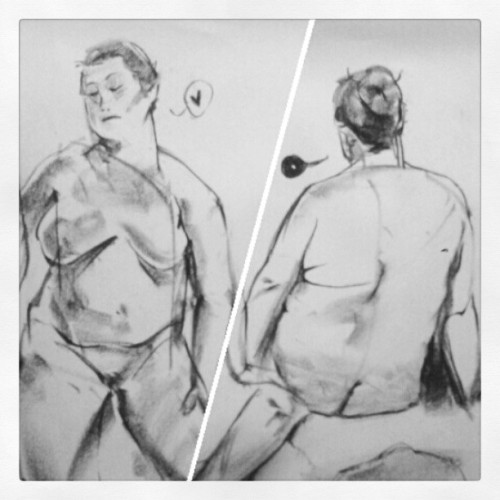 Had #lifedrawing session last night~ it's been a while. #bakkanekko #pastel