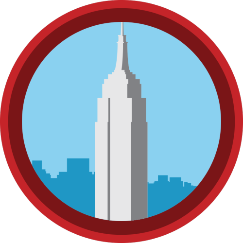 lifescouts:  Lifescouts: Empire State Building Badge If you have this badge, reblog it and share your story! Look through the notes to read other people's stories. Click here to buy this badge physically (ships worldwide).Lifescouts is a badge-collecting community of people who share their real-world experiences online.  I have been to New York three times and have visited the Empire State Building each time.  The first time was with my family, but I honestly don't remember it that well.  The only thing I really remember was standing in line for HOURS and only staying on the Observatory Deck for a short while.  The second time, I went with my school's choir for a national competition and we went on the last day of our trip.  Our itinerary had us scheduled to go at 9am.  The whole trip had been gorgeous weather-wise, and of course this was the day that the fog decided to roll in.  We looked up the Empire State building on our approach and couldn't even see the top through the thick fog.  When we got to the Observatory Deck, we could see nothing but whiteness.  We were literally standing in a cloud.  It was freezing and windy outside, but we went out anyway, just for the experience.  Our hair whipped around our faces and I have pictures on my camera from inside the fog cloud.  We didn't stay up long, as it was VERY cold.  However, by Murphy's law, by the time we made it down to ground level, we turned and looked back at the building, and could very clearly see the top of the building.  The fog decided to clear up just as we were headed down.  But hey, not many people can say the stood inside the densest part of a fog cloud.  The last time I went was October of 2011 with my friend Sarah and my mom.  We had come to NYC to see Dan Radcliffe perform on Broadway in How to Succeed in Business Without Really Trying.  Our first night in town, we had dinner at Bubba Gumps and had the most entertaining waiter I've ever had (too bad he was gay. He was totally hot too).  We had intended to go to our hotel after dinner, but instead decided last-minute that we wanted to go to the Empire State building, as weather may not have permitted us to have a good view later on in our trip.  This was one of the coolest experiences I've ever had because I got to look out over the glorious city of New York at night.  Every light was shining brightly in the night sky.  It was also lots of fun for me and Sarah, as we are both Whovians, and were jokingly checking for Dalekanium in the building plans they display on your way up (there wasn't any, luckily. No Dalek invasion this time).