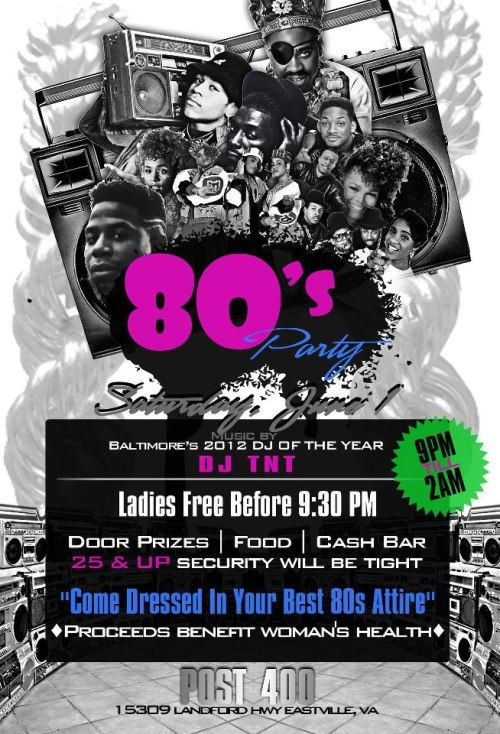 80's Party going down Saturday, June 1st, in Eastville, Va., with music by DJ TNT, to benefit women's health! Check it out!