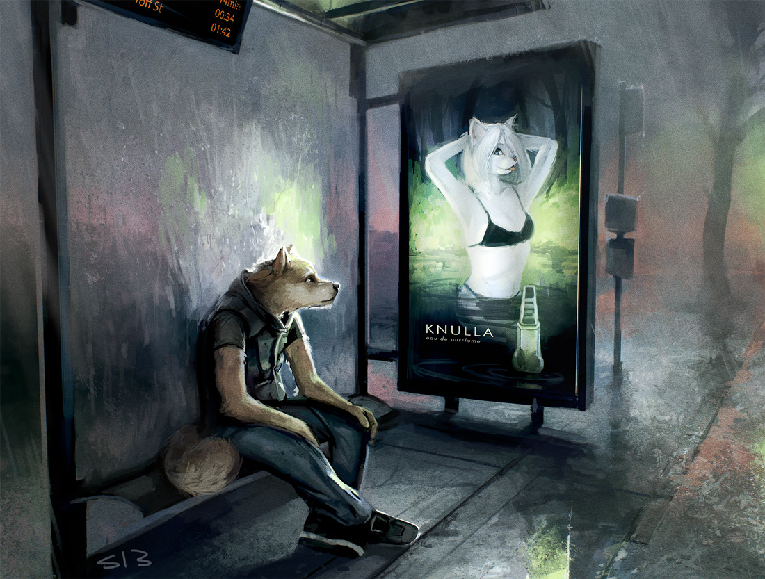 turbomurderhobo:  furballthefurry:  L'autobus en retard - by strange-fox  Reblogging my own picture, woo!