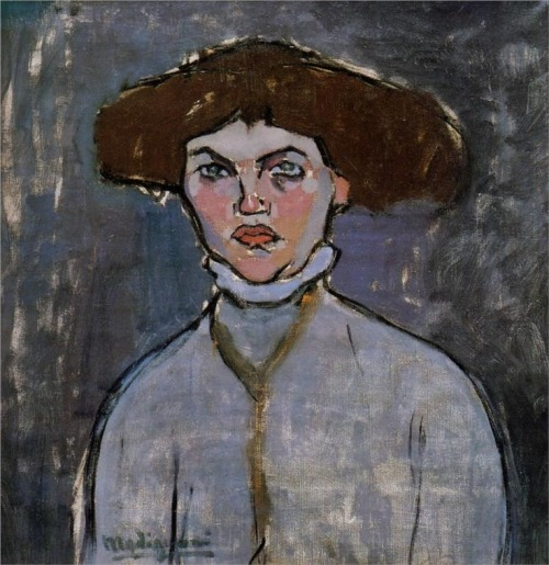 psychotic-art:  Head of a Young Woman,1908 - Amedeo Modigliani