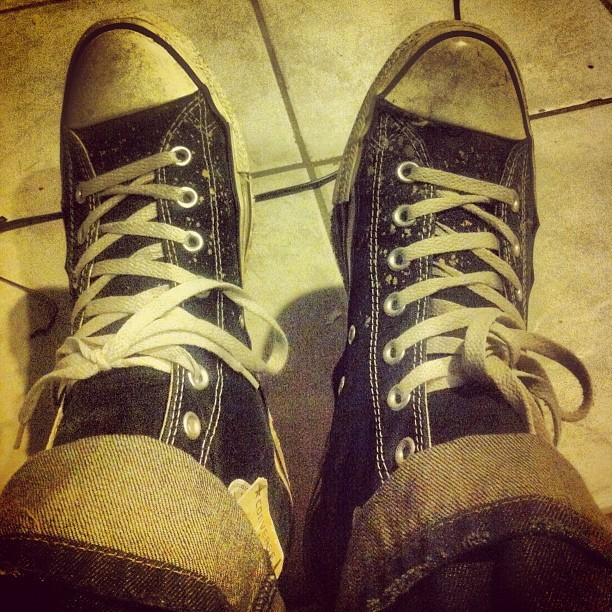These things look like they've been through a war. #chucktaylors #hitop #sneakers #love