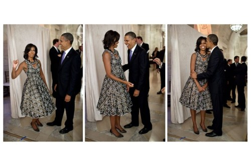 """President Obama laughs as The First Lady pretends to be a majorette before addressing the United Nations General Assembly Reception at the New York Public Library, in N.Y., N.Y., Sept. 21, 2011. A marching band performed at the reception before the President and Mrs. Obama addressed the crowd."" That is all. (more photos from Pete Souza/The Whitehouse/Time LightBox here)"