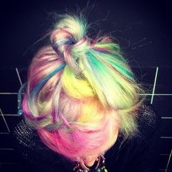 bleachlondon:  @adrilakatos new rainbow hair by @nicole_danielle2012