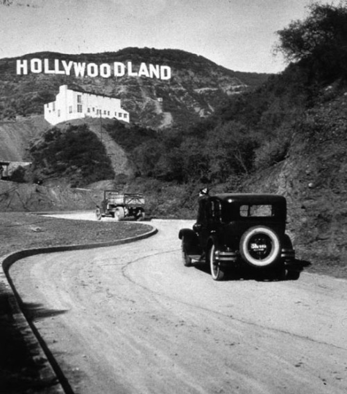 "collectivehistory:  The Hollywood sign originally said ""Hollywoodland"" when it was installed in 1923. The last four letters were deleted when the sign was refurbished in 1949."