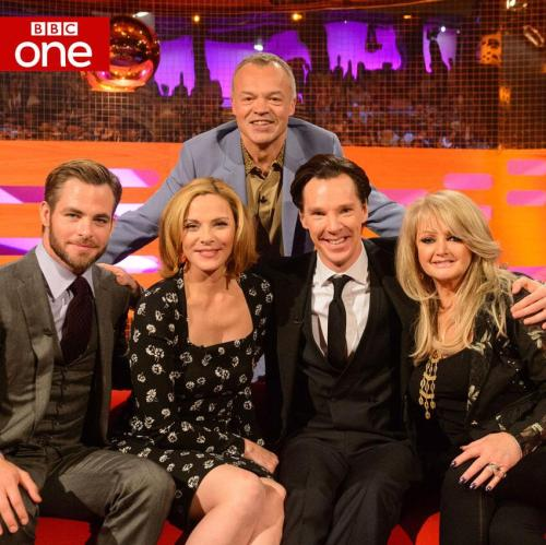 sherlockology:  UK: Don't forget Benedict Cumberbatch is on The Graham Norton Show tonight BBC1 and BBC1HD at 22:35 talking Sherlock, Hobbit and Star Trek. More info here.  Why do everybody's (except Ben's) eyes look like alien eyes?