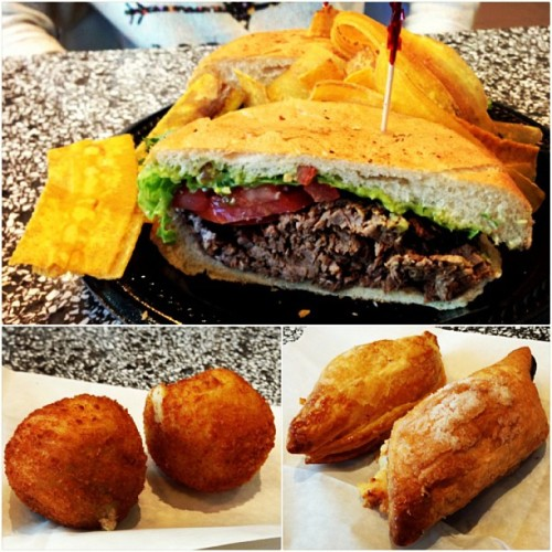 Steak Torta, potato balls & of course my favorite, cheese rolls. 😁❤ (at Porto's Bakery & Cafe)