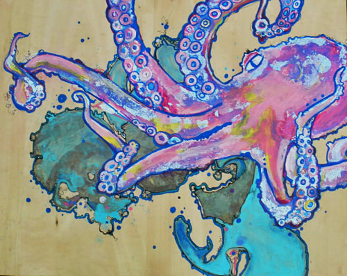 kathrynjoydowning:  Octo&ink. Silver leaf, acrylic, ink. 2009? A wedding present!