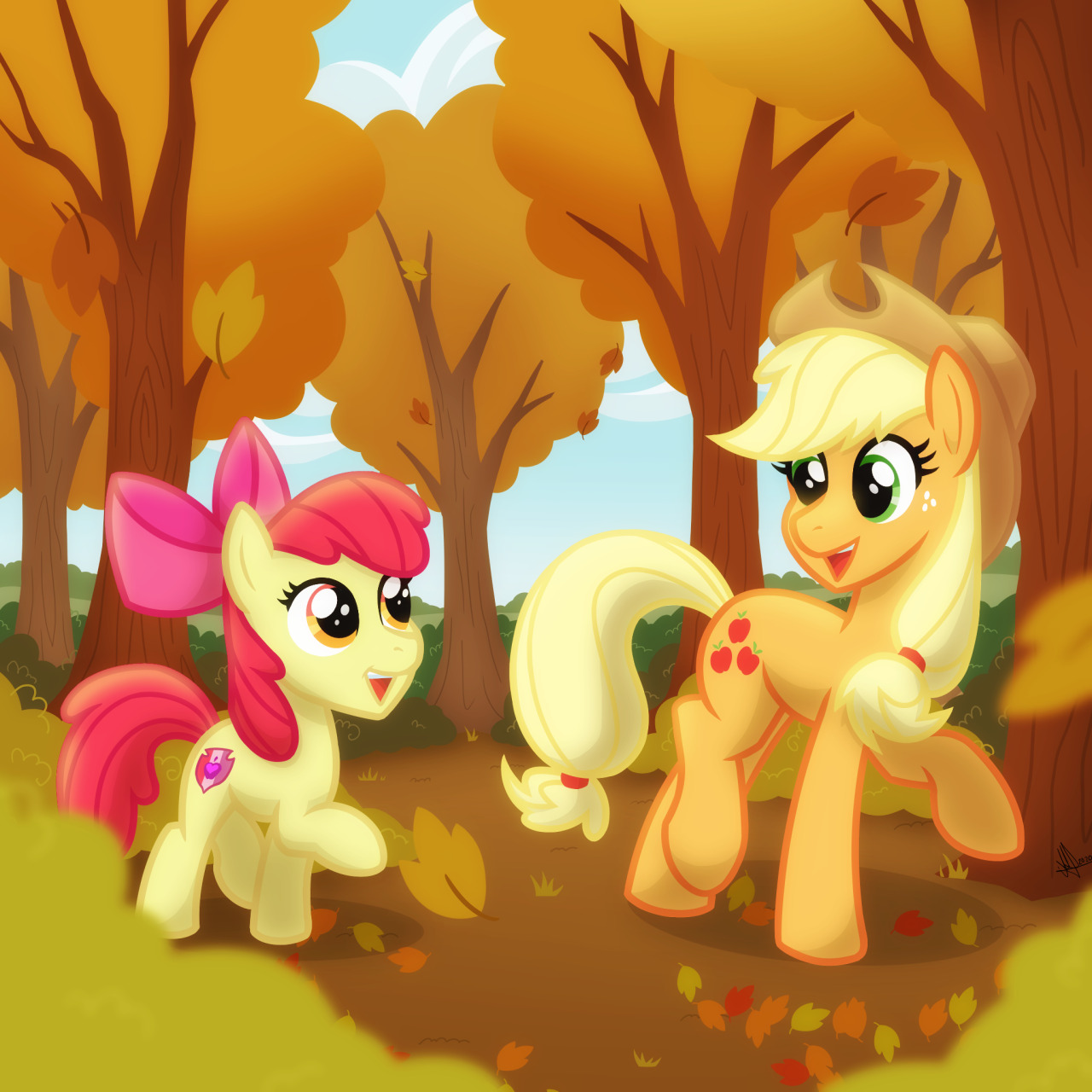 This is my favorite season of the year. Not too cold, not too hot. Also, I wanted to illustrate Apple bloom, didn't know when or how. Hope you like it! I'm grateful for your comments, reactions and even more when you share my illustrations. Thank you! #wq#white quartz#wqtheartist #white quartz the artist #mlp#mlpfim #My Little Pony  #my little pony friendship is magic #applejack#apple bloom#applejack mlp #apple bloom mlp #autumn#leaves#autumn leaves