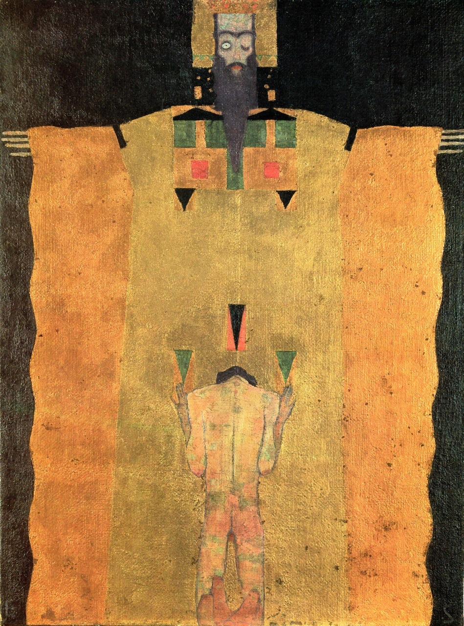 klimt-artwork:   Egon Schiele, Young Man kneeling before God the Father. 1908