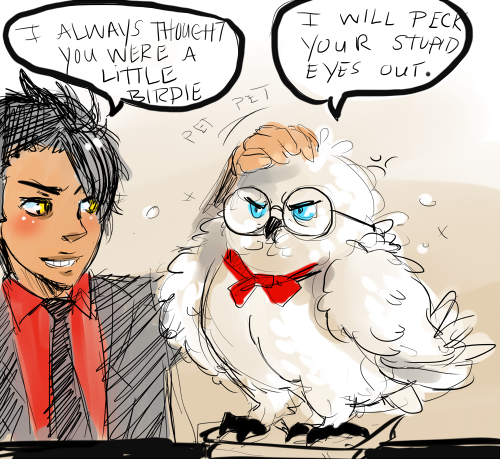 sepherene:  I had nothing better to do but sketch Aziraphale as an owl(he was miracled that way and seems to be unable to return to a human form for whatever reason) and Crowley being the consoling bastard that he is.