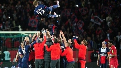 """Beckham gets thrown in the air by PSG team-mates. Love the glint in Zlatan's eyes"" Source (@James_Dart)"