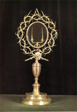 A reliquary housed in The Basilica of the Holy Cross in Jerusalem containing two thorns of what is believed to be Jesus Christ's Crown of Thorns