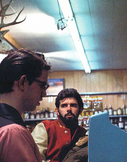 George Lucas on the set of American Graffiti (1973)