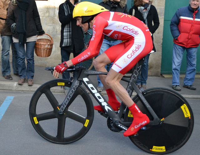 I really appreciate the French setup on this Cofidis Look… fabbricadellabici:  Mavic IO was the wheel of choice for Jérôme Coppel at the 2013 Paris-Nice Prologue. J_Coppel by denismenchov08 on Flickr.