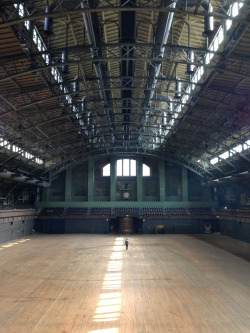 This is what it looks like with just one person in the Armory's 55,000 square-foot drill hall.
