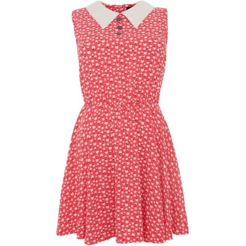 Madam Rage Red Floral Collar Sleeveless Dress   ❤ liked on Polyvore (see more vintage style dresses)