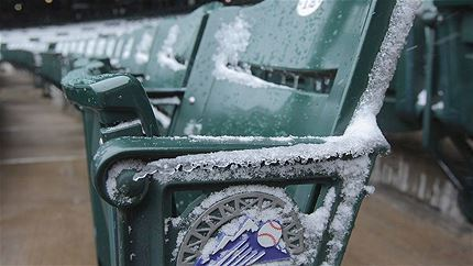 The game between the Braves and the Rockies started with a temperature of 23 F, the coldest temperature to start a game since it started being recorded in 1991.
